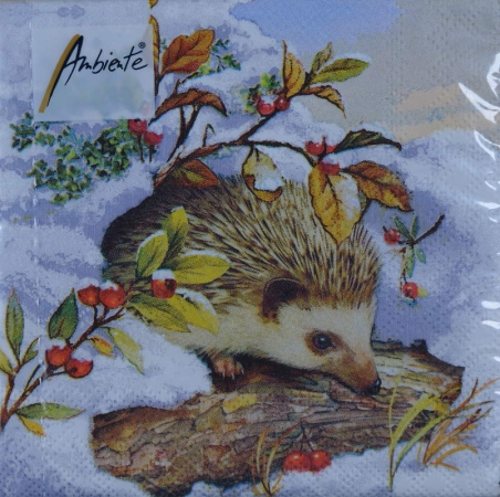 Serviette Igel Winterlandschaft