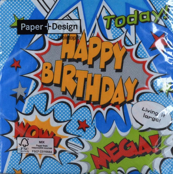 Serviette Happy Birthday Comic
